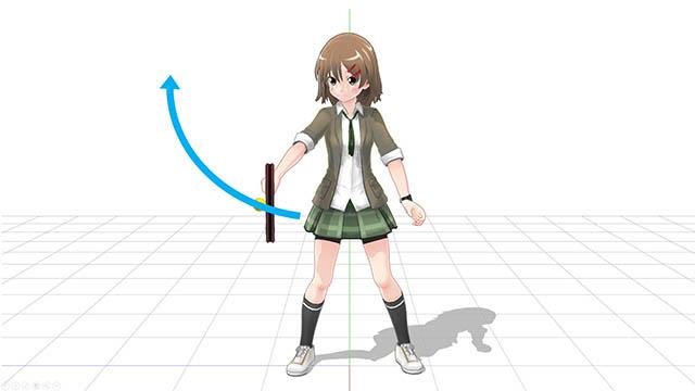 打点から腕を伸ばすようにしてボールを飛ばす