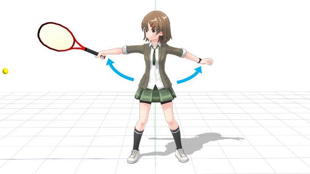 片手打ちバックハンド 打点からボールを押す2