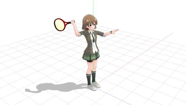 テニス サーブ 正面向きで腕を振る