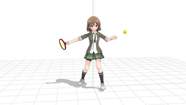 テニス 正面向きでフォアハンド