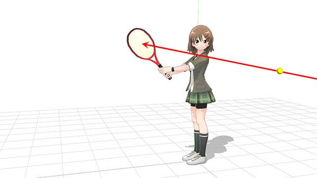 直立でラケットを持つとボールの勢いに弾かる