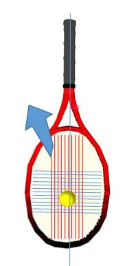ヘッド側の下向きのラケットを引き上げる