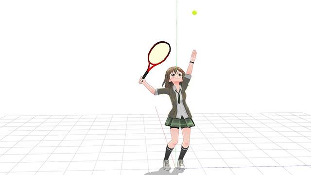 テニス 横向きでトスを上げトロフィーポーズに至る