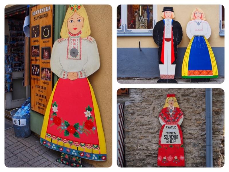 エストニアのタリン旧市街にある土産物屋の店先にある人形型の看板