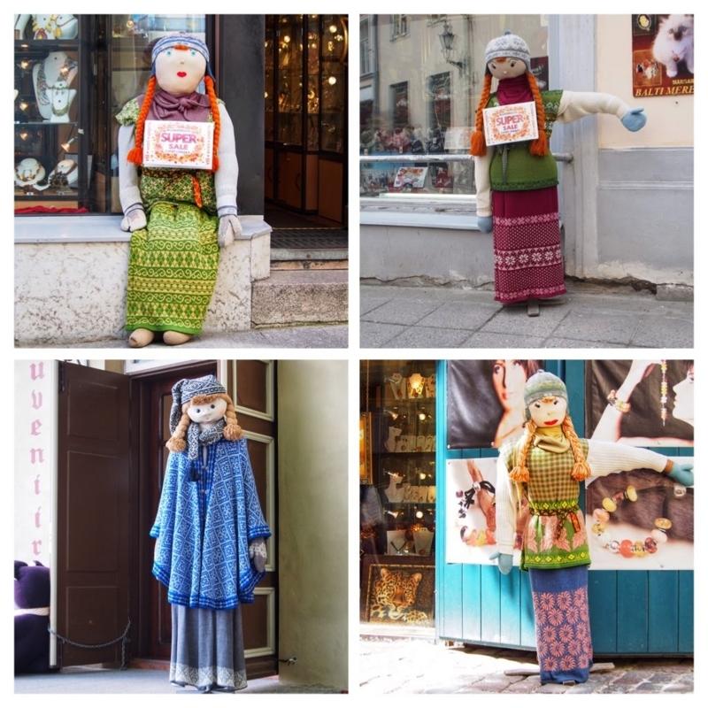 エストニアのタリン旧市街にある土産物屋の店先に飾られている人形