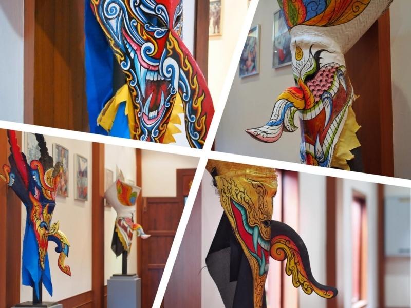 ワット・ポン・チャイにあるダーンサーイ郷土博物館に展示されている色とりどりの仮面