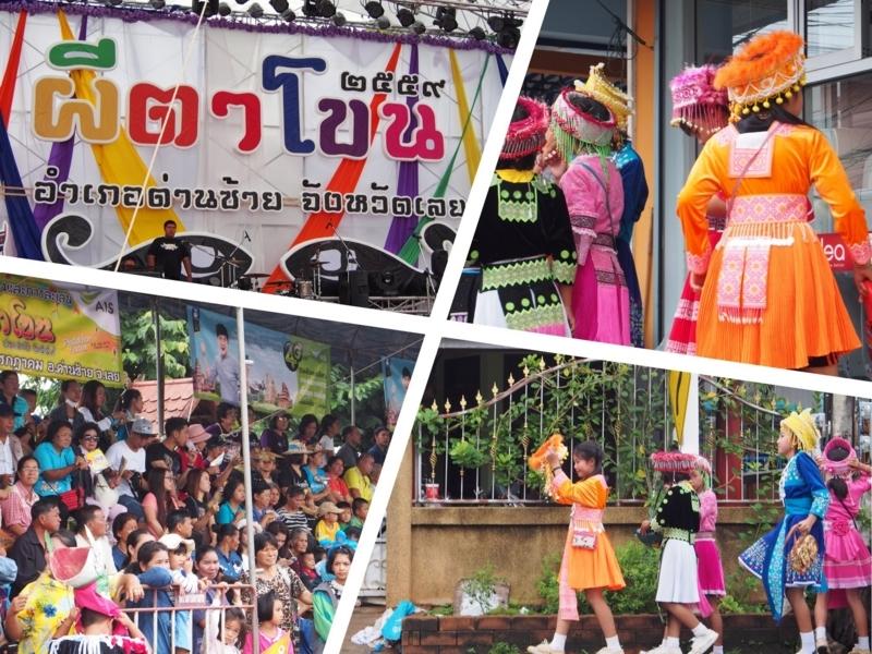 ピーターコーン祭りのメインステージとメインステージに向かうかわいい衣装を着た子供たち