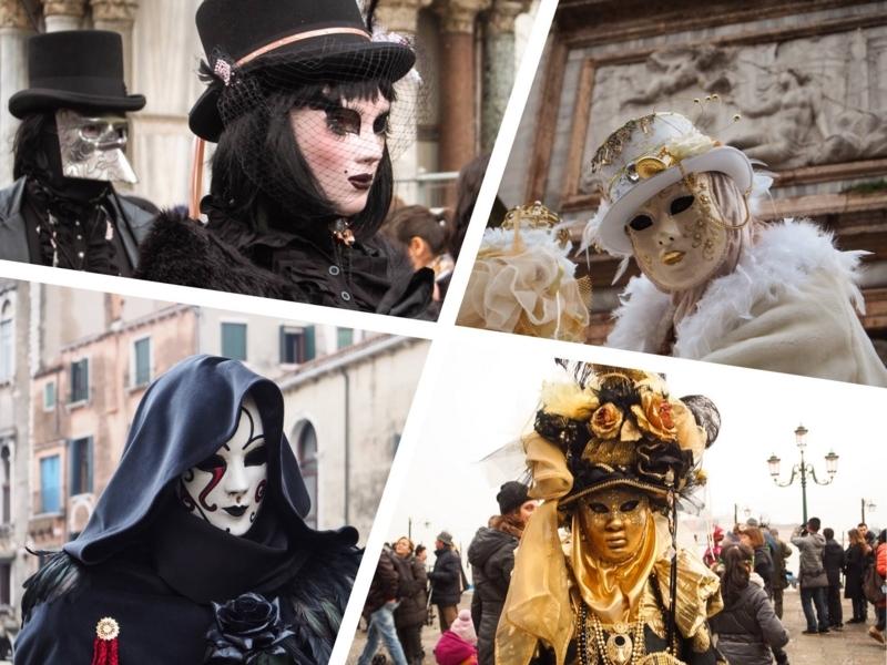 ヴェネツィアのカーニバルの仮装者。独特の仮面が特徴である