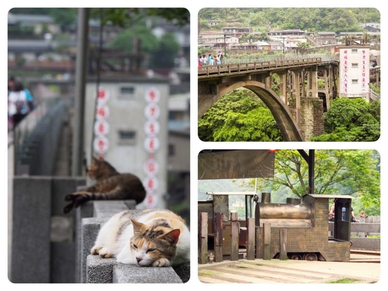 台湾の猫村、猴硐にある古い橋。橋の上にはトロッコの線路が引かれている
