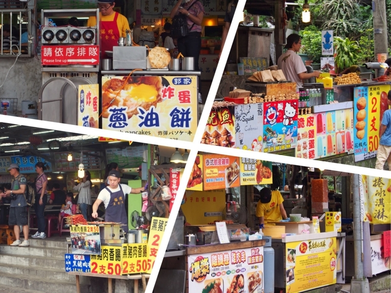 台北の猫空駅前で営業している露店。様々なB級グルメを堪能できる
