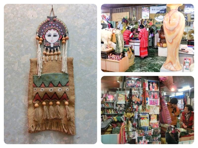 台北の南にある烏来(ウーライ)の台湾の原住民であるタイヤル族が住む酋長文化村の土産物屋の店内
