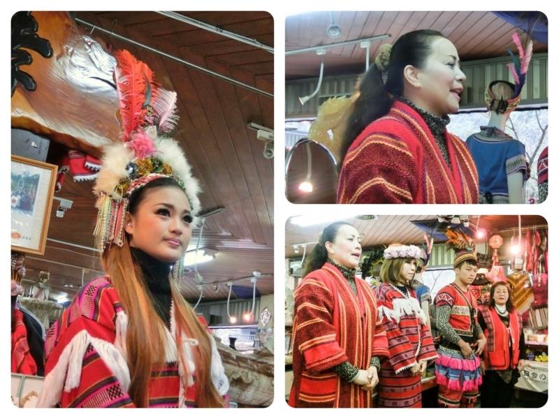 台北の南にある烏来(ウーライ)の台湾の原住民であるタイヤル族が住む酋長文化村で、日本語でいろいろな説明する酋長文化村の人