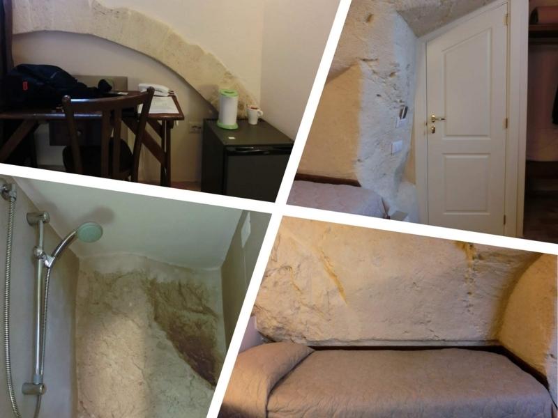 イタリアのバジリカータ州マテーラにあるホテル、イルベルベェデーレのシングルルームと中庭