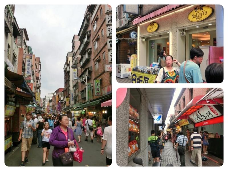 台湾の淡水の人通りの多い繁華街