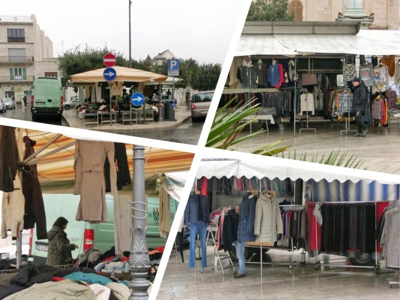 アルベロベッロに定期的に来る移動型の服の露店
