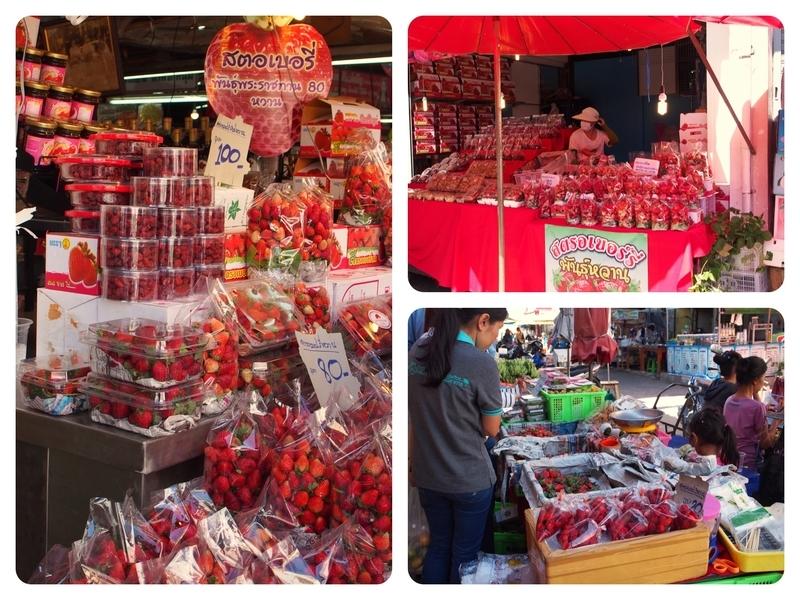 チェンマイのトン・パヨム市場のいちご屋に並ぶ美味しそうないちご
