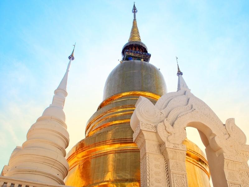 チェンマイにある金色の仏塔のワット・スアン・ドーク