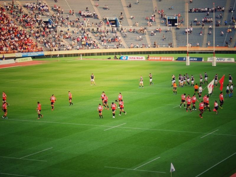 ラグビーワールドカップへの出場を決めた旧国立競技場で行われた日本対香港の試合