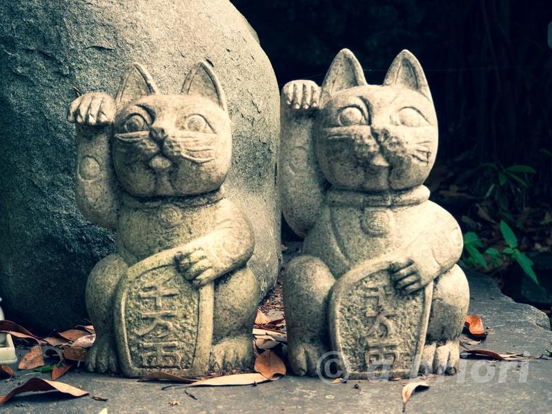 徳島県阿南市にあるお松大権現のねこの細道にある招き猫の石像