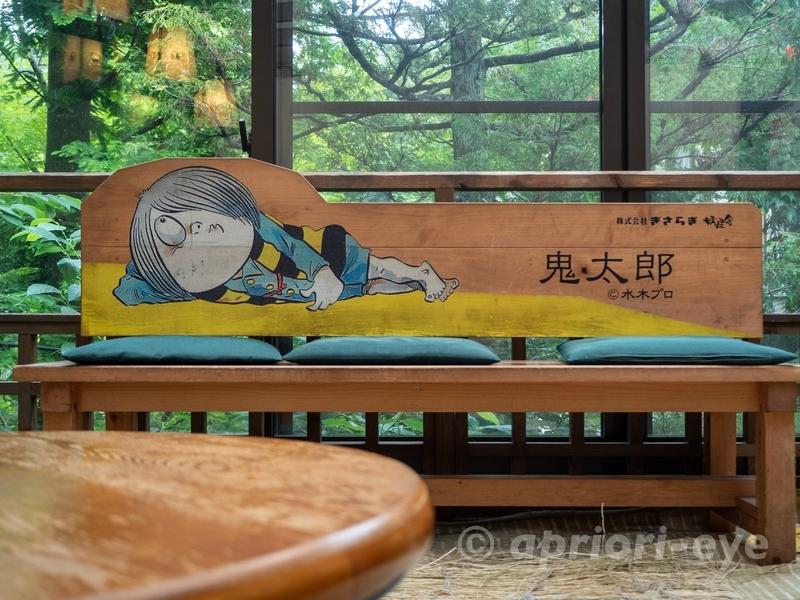 鬼太郎茶屋にある、鬼太郎の絵が描かれている木製のベンチ