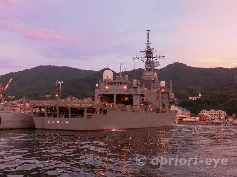 夕呉クルーズから見ることができる海上自衛隊訓練支援艦てんりゅう