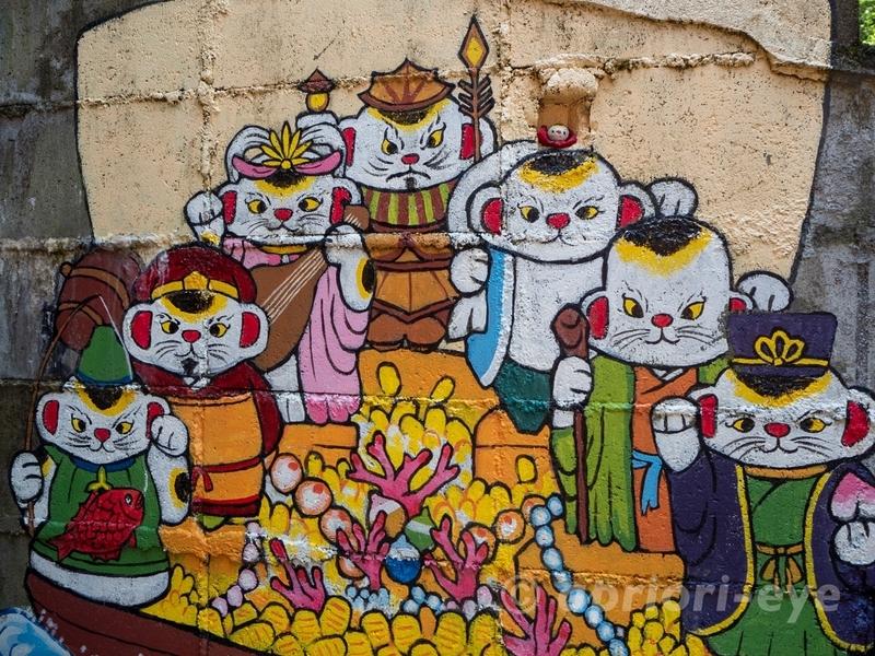 尾道の猫の細道にある招き猫美術館in尾道の壁画