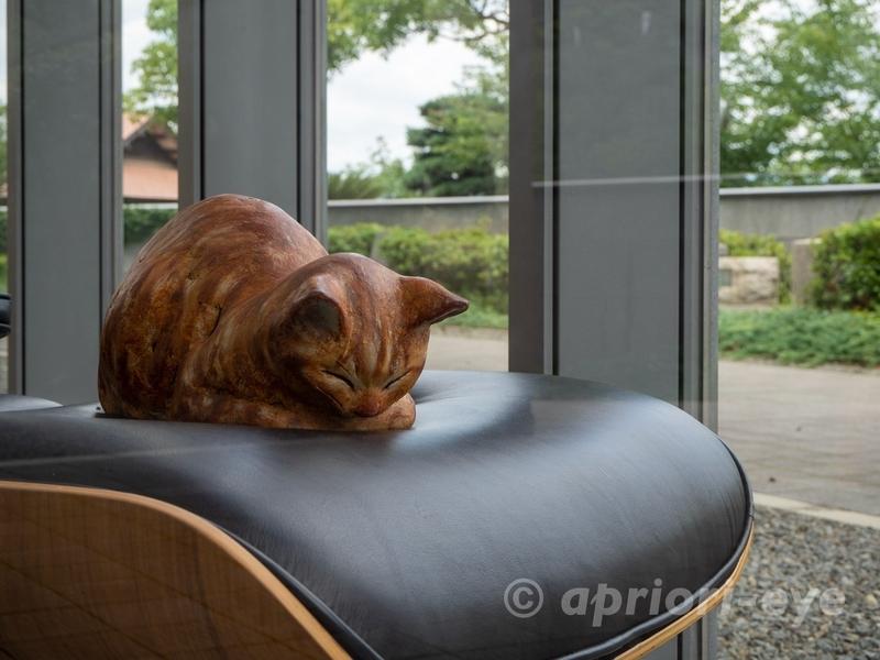 尾道市立美術館の椅子の上で寝ている猫のオブジェ