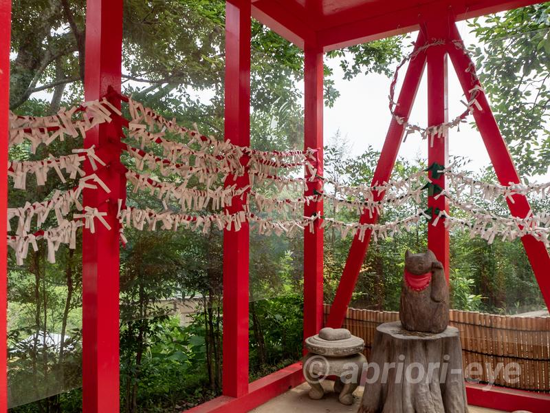 岡山市の招き猫美術にある赤い猫神社