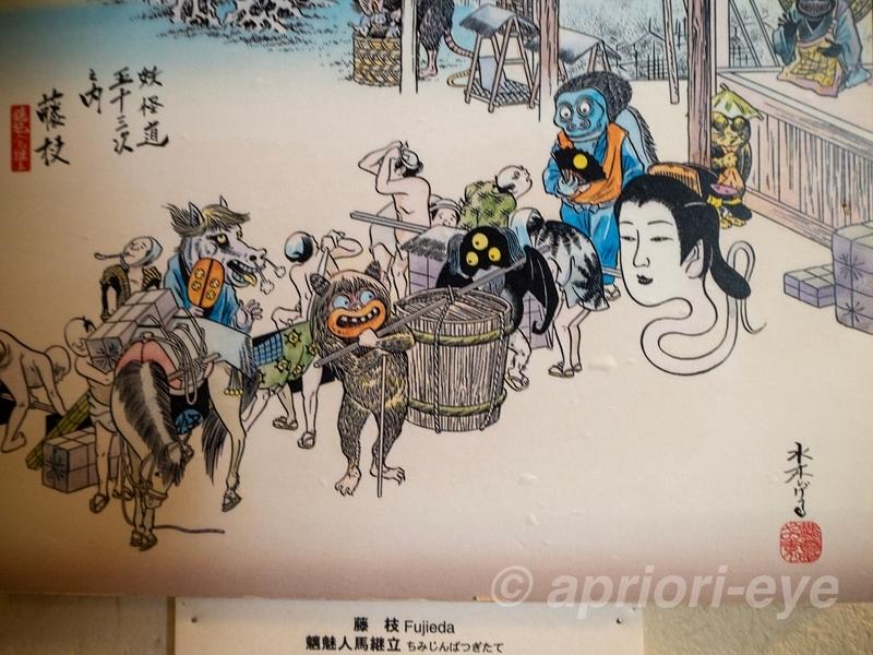 鬼太郎妖怪館に展示されている浮世絵風の「妖怪同五十三次 藤枝」の絵
