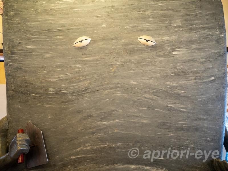 鬼太郎妖怪館にある記念撮影ができる巨大ぬりかべ