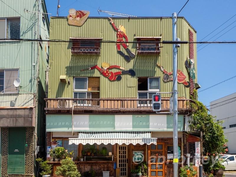 石巻のマンガロードにあるサイボーグ009が描かれた家