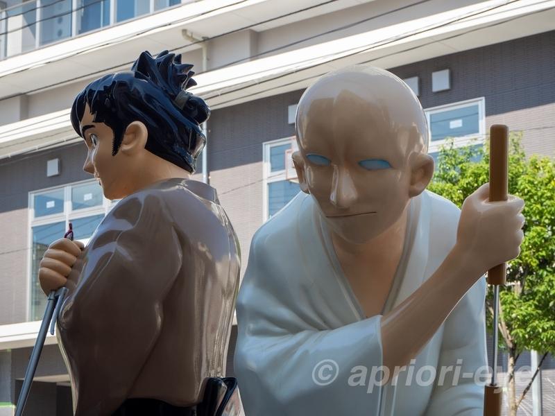 石巻のマンガロードに展示されている佐武と市のモニュメント