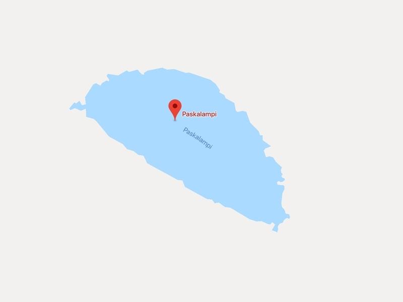 Google Map上に表示されたフィンランドにあるPaskalampiという名前の池