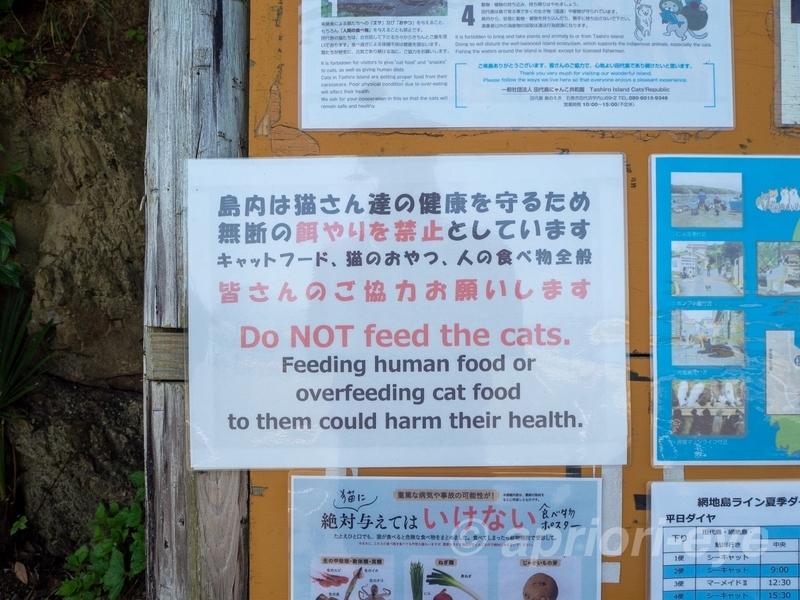 田代島では猫に餌をやることを禁止している旨が記載された掲示