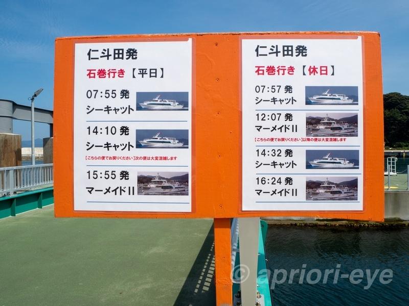 網地島ラインの仁斗田港に掲示されているフェリーのタイムテーブル