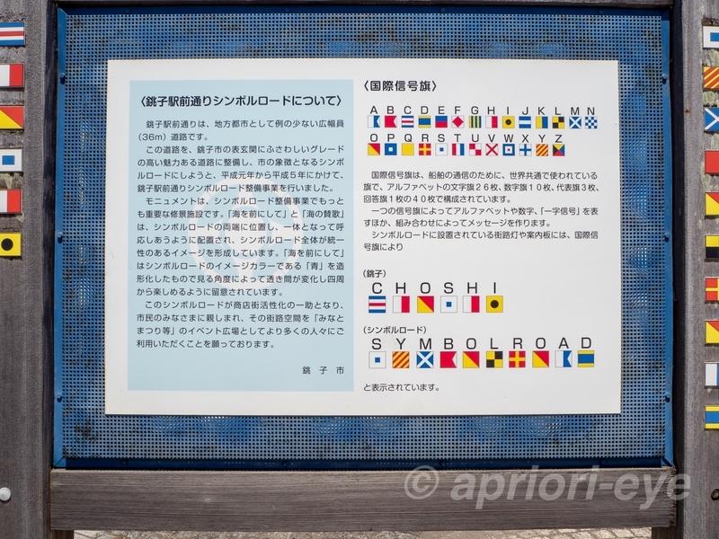 銚子駅前通りシンボルロードにある国際信号旗の説明