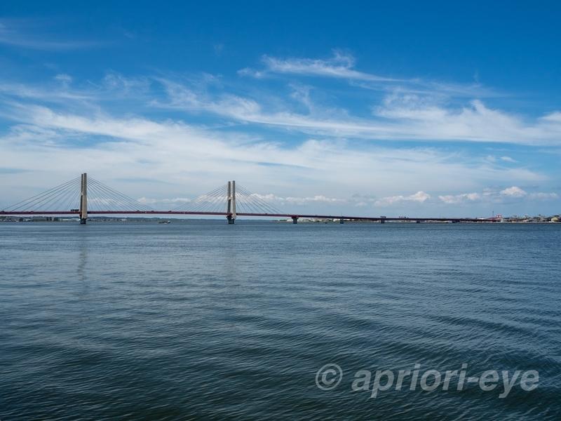 川岸公園から銚子大橋を眺めたところ