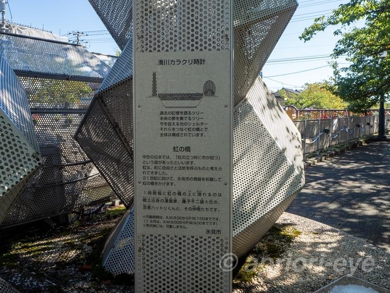 湊川カラクリ時計の説明。カラクリ時計が動く時間などが書かれている