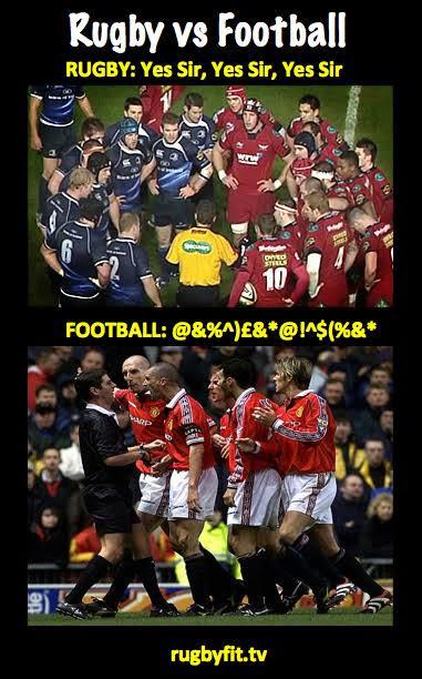 インターネット・ミーム(internet meme)の「ラグビーとサッカーの違い」。ラグビーでは審判の話をよく聞く選手の写真で、サッカーでは審判に文句を言う選手の写真