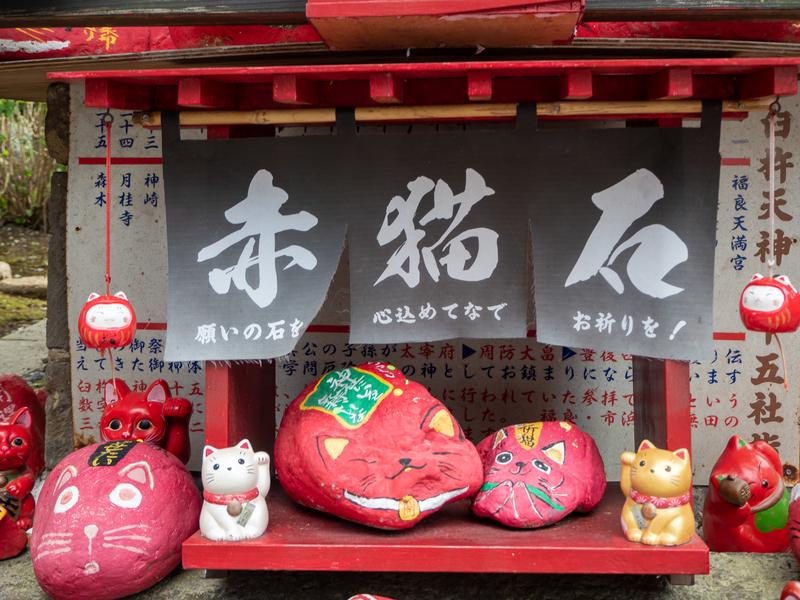 臼杵市にある福良天満宮の赤猫社の赤猫石という猫が描かれた赤い石