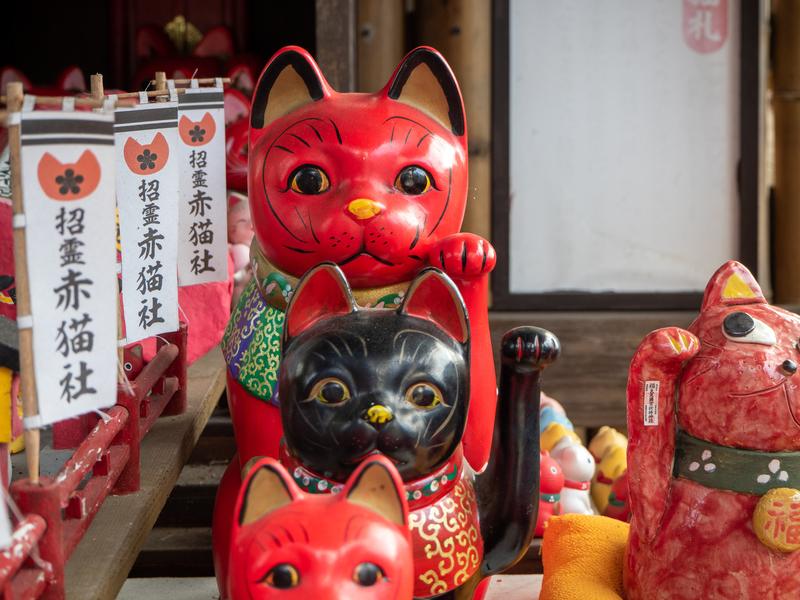 臼杵市にある福良天満宮の赤い招き猫