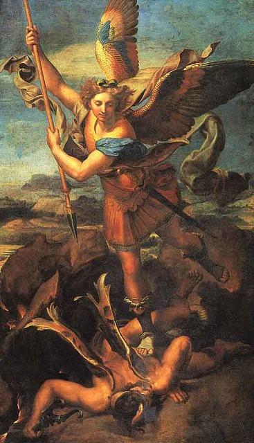 ラファエロ「墮天使を踏みつける大天使ミカエル」
