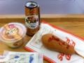 焼きプリンとアメリカンドッグを食べました。