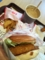 朝食はロッテリアのエビバーガーです。