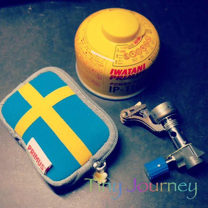 PRIMUSの黄色いガス缶とバーナー