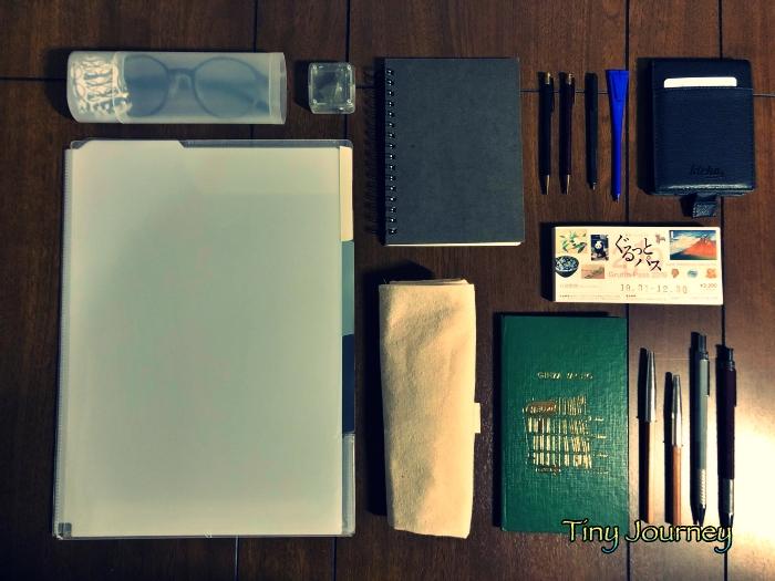 ミュージアムへ持っていくファイルやメモ帳や鉛筆