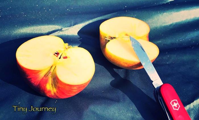 2つに切ったりんご