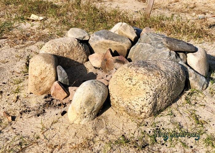 石のかまどの跡地