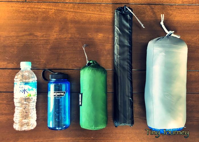 テントと寝袋の収納サイズ比較