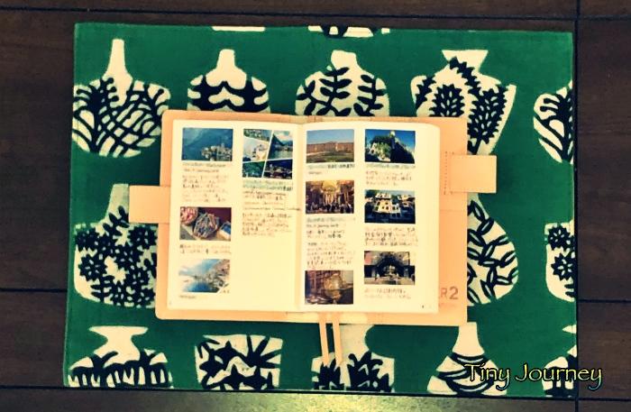 ノートに切り貼りした旅先の写真とメモ